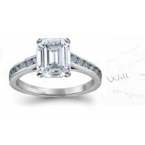 Blue & White Emerald Cut Diamond Engagement Ring