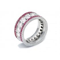 Shop Fine Quality Made To Order Round Hand EngravedDiamond & PinkSapphireEternity Style Wedding & AnniversaryRings