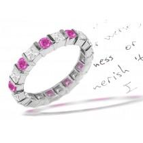 Diamond Pink Sapphire Eternity Rings