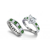 Heart Diamond & Princess Cut Emerald & Diamond Engagement Ring & Emerald Diamond Wedding Band