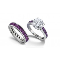 Round Diamond & Princess Cut Purple Sapphire & Diamond Engagement Ring & Wedding Wedding Band
