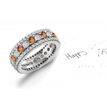 View Wide Variety of Pink Orange Sapphires & Diamonds Eternity Ring