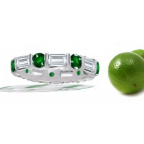 Baguette Diamond & Round Emerald Ring