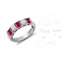 5 Stone Princess Cut Ruby Diamond Anniversary Ring