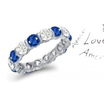 Bar Set Diamond & Sapphire Eternity Ring