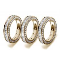 Love, Faith & Hope: The Princess Cut Diamond Eternity Band in Gold with Diamonds Radiate With Fire & Light