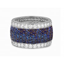 French Micro pave Multiple Rows of Blue Sapphire & Diamond Eternity Rings