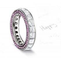 Micro pave Halo Round & Princess Cut Diamond & Pink Sapphire Eternity Rings