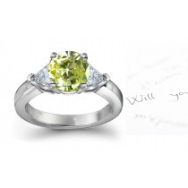 Green Diamond & White Diamond Fancy Rings