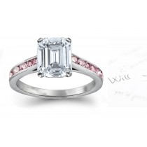 Pink & White Emerald Cut Diamond Engagement Ring