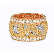 Eternity Ring with Diamonds & Sapphires in Gold or Platinum