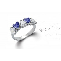 Made to Order 5 Stone Heart Shaped Diamonds & Blue Sapphires Anniversary Rings