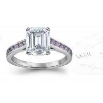 Purple & White Emerald Cut Diamond Engagement Ring