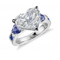 Three Stone Heart Diamond & Blue Sapphires Rings With Further Diamond Accents