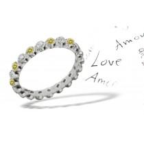 Premier Colored Diamonds Designer Collection - Yelllow Colored Diamonds & White Diamonds Fancy Diamond Eternity Rings