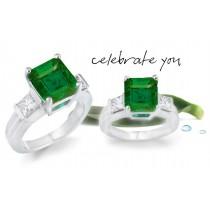 Customize Emerald Three Stone Diamond Ring