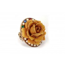 Frivolous & Whimsical Romantic Vintage Inspired Gold Pearl Ruby Emerald Sapphire Blooming Rose Flower Diamond Ring