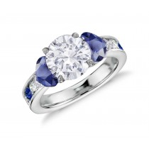 Three Stone Round Diamond & Heart Blue Sapphires Rings With Further Diamond Accents