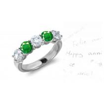 Brilliant: Classic 5 Stone Bar Set Round Emerald & Diamond Ring