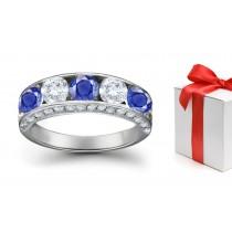 Blue Sapphire & White Diamond Five Stone Rings