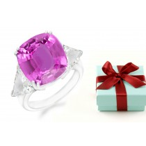 Cushion Pink Sapphire 3 Stone Sapphire Engagement Ring with Trillion Diamonds in 14k White Gold