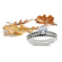 Round White Sapphire Ring with Pave Sapphires and a matching Wedding Ring in 14k White Gold