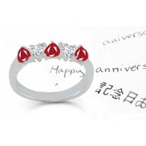Heart to Heart:Vivid Red Heart Ruby& Diamond Half Eternity Band