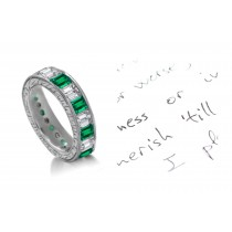 Unique Unrepeatable: Mountain Green Emerald Cut Diamond & Emerald Cut Emerald Eternity Ring