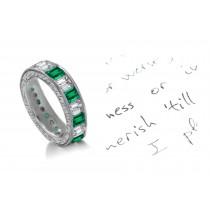 Unique Unrepeatable: Mountain Green Emerald Cut Diamond & Emerald Cut Emerald Eternity Ring
