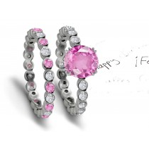 Stunning Jewels: Sparkling Pink Sapphire & Diamond Engagement & Essential Wedding Ring Set