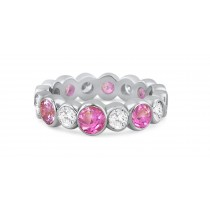 Shop Fine Quality Made To Order Round Bezel Set Diamond & Pink Sapphire Eternity Style Wedding & Anniversary Rings