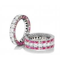 Made to Order Great Selection of Channel Set Brilliant Cut Round Diamonds & Pink SapphiresEternity Rings & Bands
