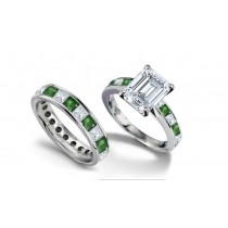 Emerald Cut Diamond & Square Emerald Ring and Matching Wedding Band