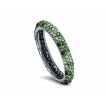 High Quality French pavee Multi-Colored Sapphire & Brilliant-Cut Round Diamond StackableEternity Rings & Bands