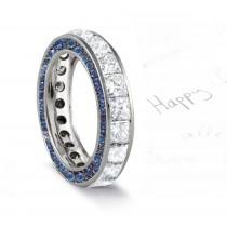 Micro pave Halo Round & Princess Cut Diamond & Blue Sapphire Eternity Rings
