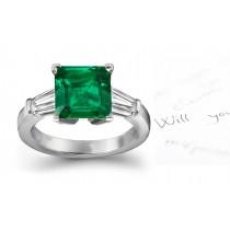 Signature 3 StoneSquare True Emerald, Baguette Diamond & Platinum Ring Size 3 to 8