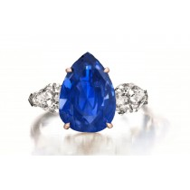 Custom Manufactured Three Stone Pear-Shaped Diamonds & Blue Sapphire Ring