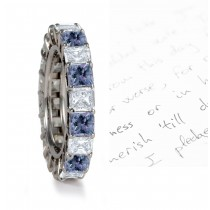 Premier Colored Diamonds Designer Collection - Blue Colored Diamonds & White Diamonds Fancy Diamond Eternity Wedding Rings