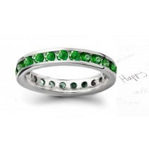 15th Anniversary Fine Emerald Anniversary Rings: Emerald and Diamond Rounds 24 26 RD Stones 4-Prong Set in 14K White Gold.