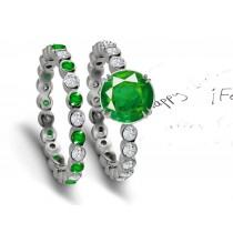 Fascination: Genuine Fine Quality Emerald & Diamond Engagement & Wedding Set