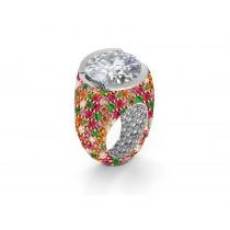 Custom RoundDiamond & RainbowSapphire Engagement and Right Hand Rings