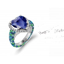 Custom Manufactured Precision Set Pave Halo Brilliant Round Diamonds & Heart Blue Sapphire Rings