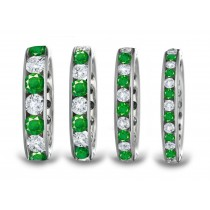 Marvelous Women's Emerald Anniversary Ring: 24 Round emeralds and diamonds channel set in metal of your choice.