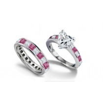 Heart Diamond & Princess Cut Pink Sapphire & Diamond Engagement Ring & Wedding Band in Ring Size 3 to 8