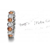 Discover Pink Orange Sapphires & Diamonds Eternity Ring