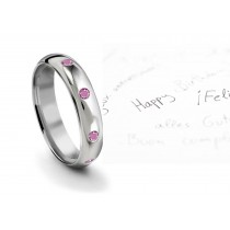 Burnish Round Pink Sapphire Eternity Ring