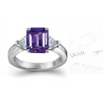 Glittering Very Popular Purple Sapphire & Sparkling Diamond EngagementRing