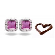 New Designer Colored Gemstone Jewelry: Blue Sapphire & Diamond Studded Earrings