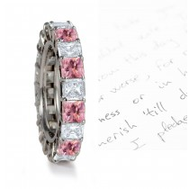 Premier Colored Diamonds Designer Collection - Pink Colored Diamonds & White Diamonds Fancy Diamond Eternity Wedding Rings