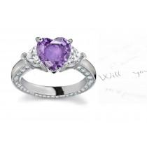 Center Heart& Side Heart Diamonds Three Stone Ring